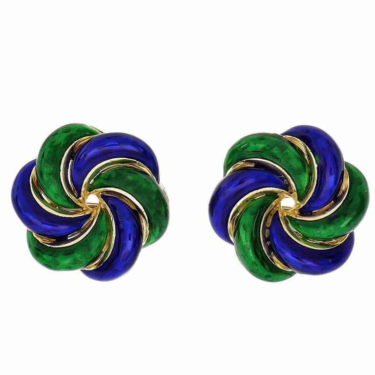 Blue Green Enamel Swirl Round Gold Earrings