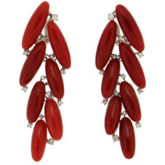 Sardinian Coral White Gold Diamonds Drop Earrings