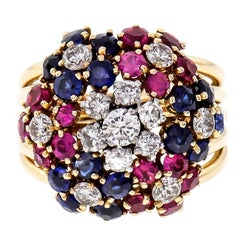 Diamond Ruby Sapphire Flower Rose Gold Cocktail Ring