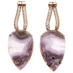 Peter Suchy 27.35 Carat Agate Gold Dangle Earrings