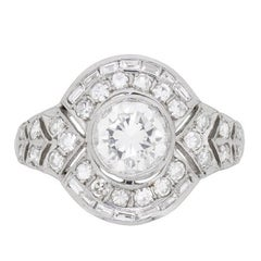 Deco Style Diamond Cluster Ring with Engraved Band, circa 1950s