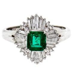 GIA Certified Natural Emerald Diamond Ballerina Platinum Cocktail Ring
