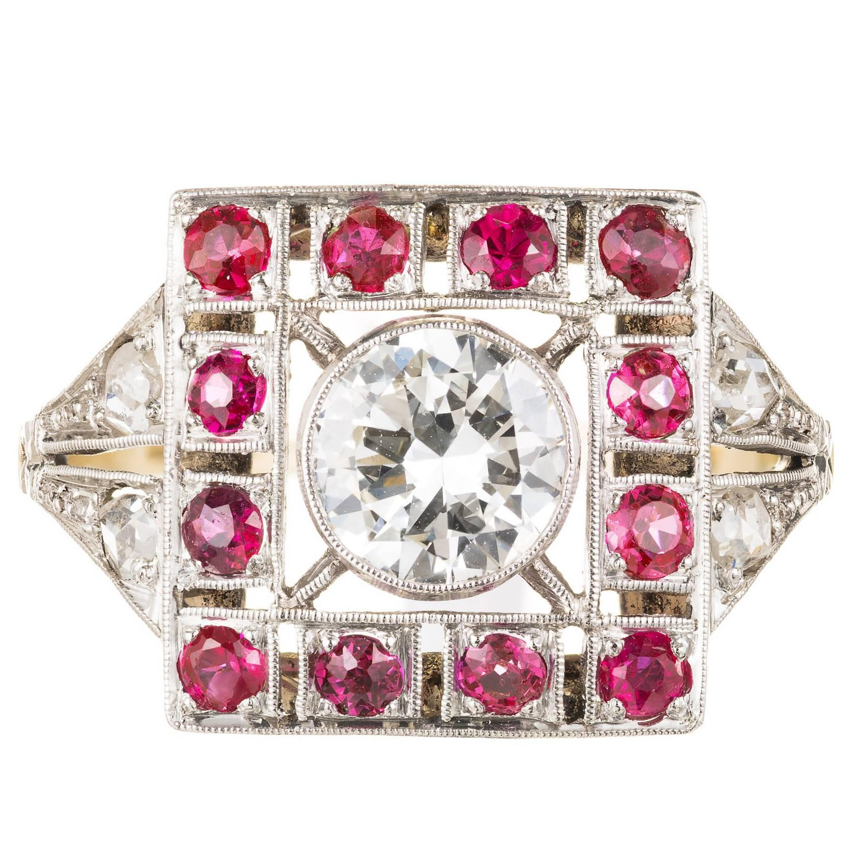 Art Deco Diamond Ruby Gold Platinum Cocktail Ring