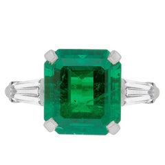 Vintage 4.49 Carat Emerald and Diamond Solitaire, circa 1960s