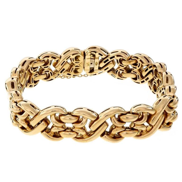 Italian Fancy Gold Wide Link Bracelet