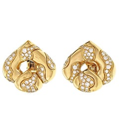 Marina B 2.30 Carat Diamond Pardy Gold Clip Post Earrings