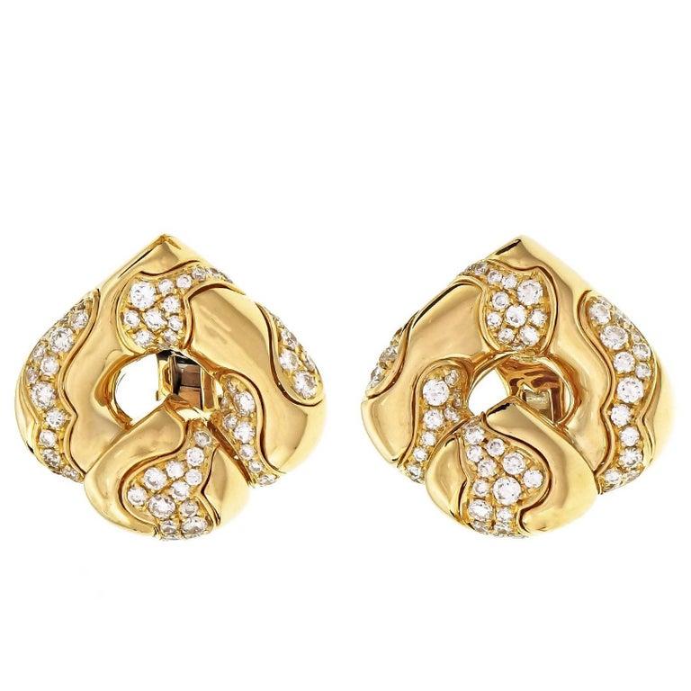 Marina B 2.30 Carat Diamond Pardy Gold Clip Post Earrings
