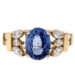 Peter Suchy 3.11 Carat Blue Sapphire Diamond Gold Platinum Engagement Ring