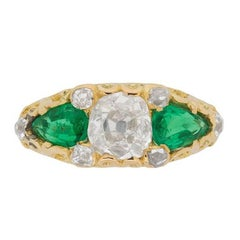 Cushion Cut Diamond and Pear Cut Emerald Ring, circa 1880s