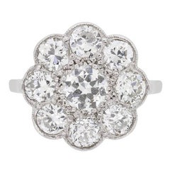 Art Deco Old Cut Diamond Cluster Ring, circa 1920s