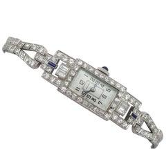 Art Deco 4.21 Carat Diamond and Sapphire Platinum Cocktail Watch