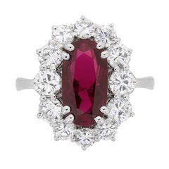 2.63 Carat Ruby and Diamond Cluster Dress Ring, circa 1960s