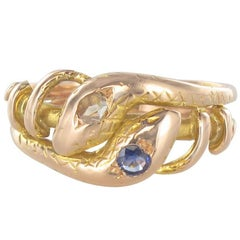 19th Century 18 Karats Yellow Gold Sapphire Diamond Snake Ring