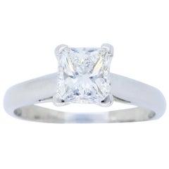 Platinum GIA Certified Princess Cut Diamond Solitaire Engagement Ring