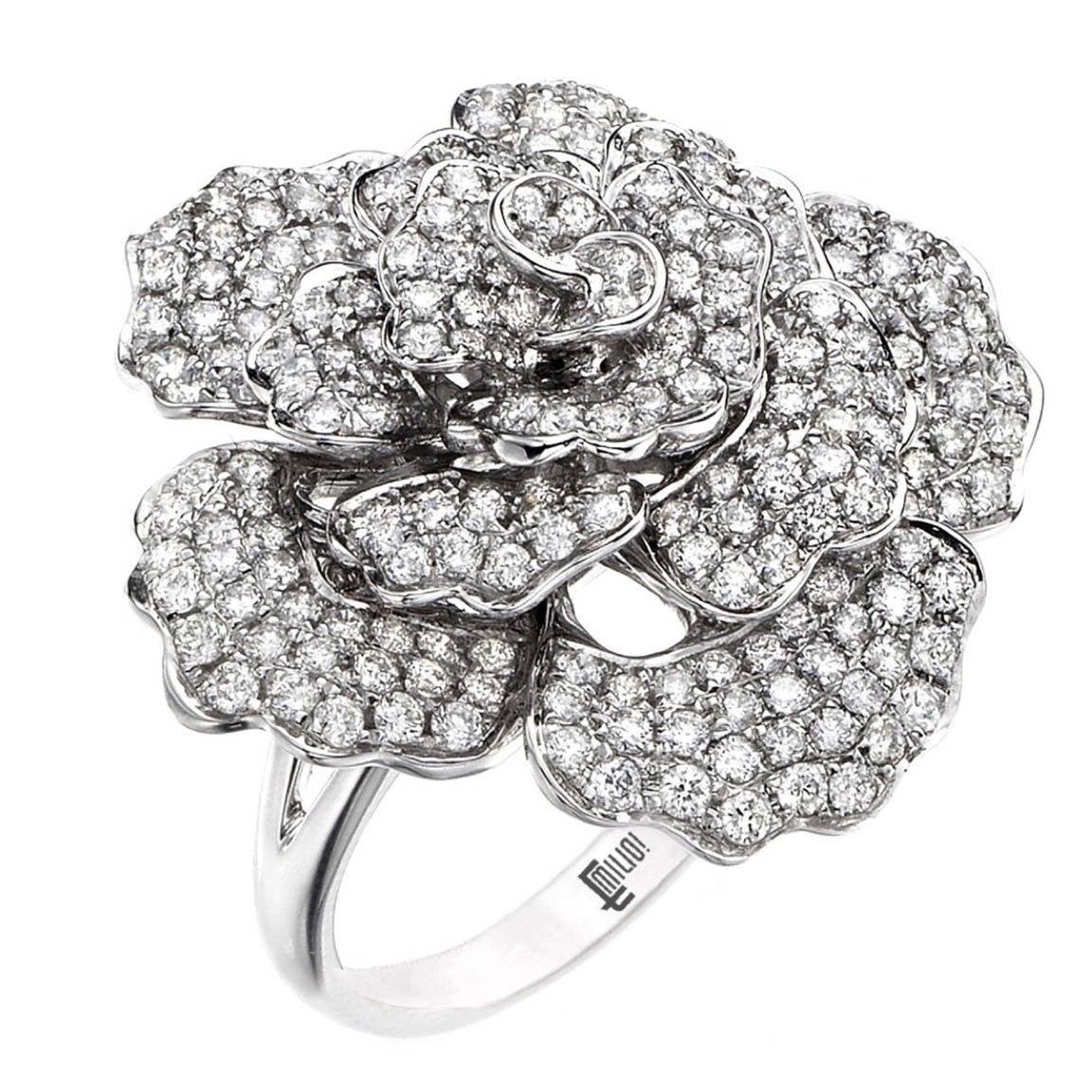 Emilio Jewelry Handmade Micro Pave Diamond Flower Ring