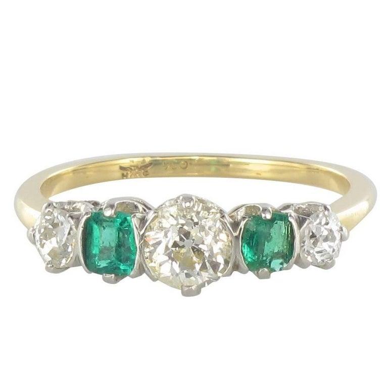 1900s Edwardian Emerald Diamonds Band Ring