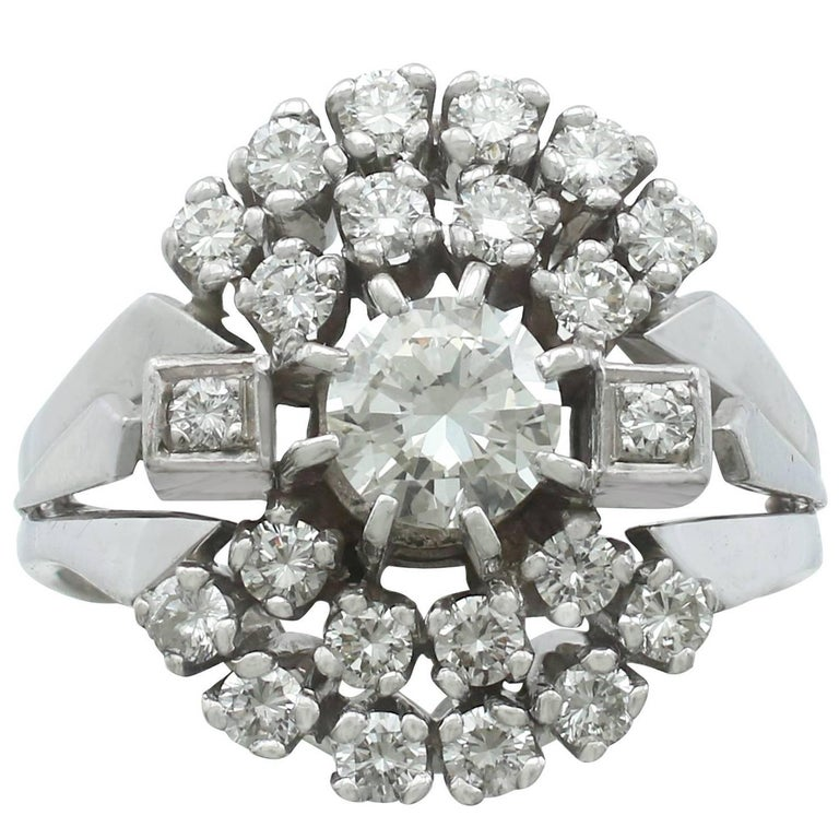 1970s Diamond and White Gold Cluster Ring