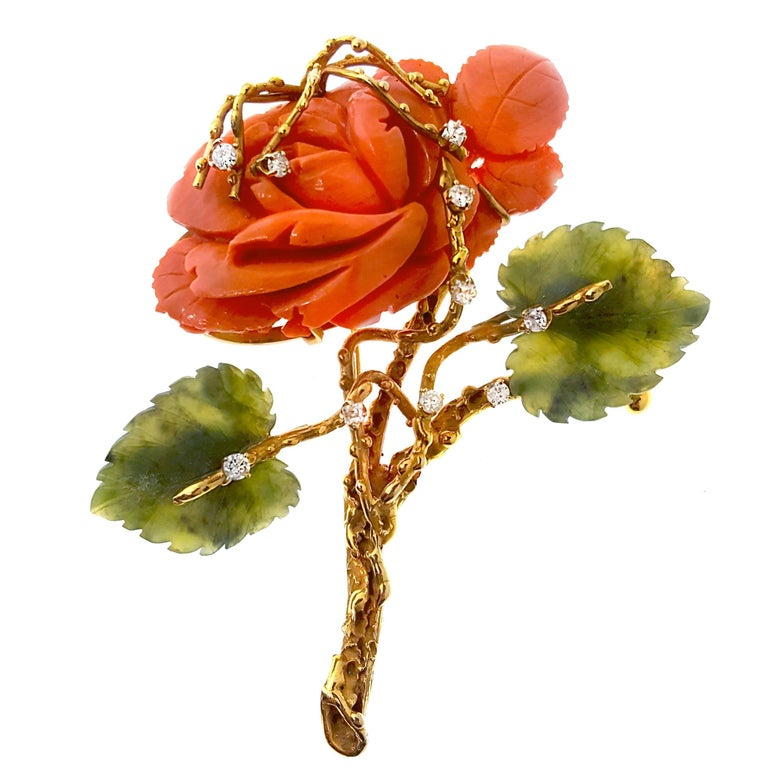 Single Coral and Nephrite Jade Rose Brooch