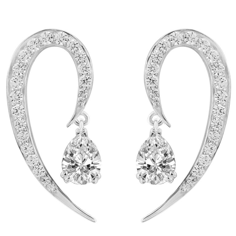 Full Curve White Gold and Diamond Earrings For Sale