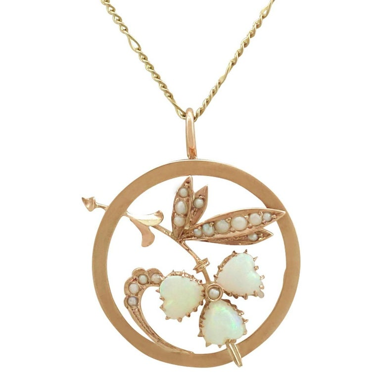 1920s Antique Opal and Seed Pearl Yellow Gold Pendant
