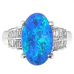 Black Opal and Baguette Diamond Platinum Ring