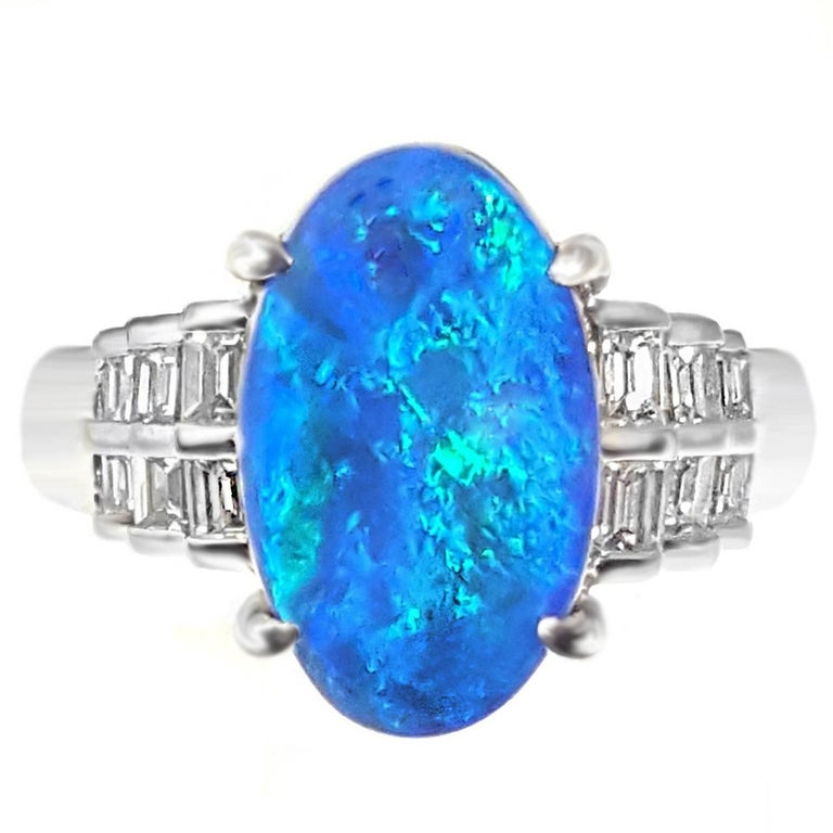 Black Opal and Baguette Diamond Platinum Ring