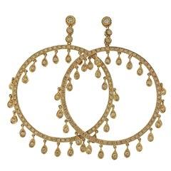 Diamond Gold Circle Earrings