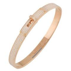 Hermes Rose Gold Diamond Kelly Bangle