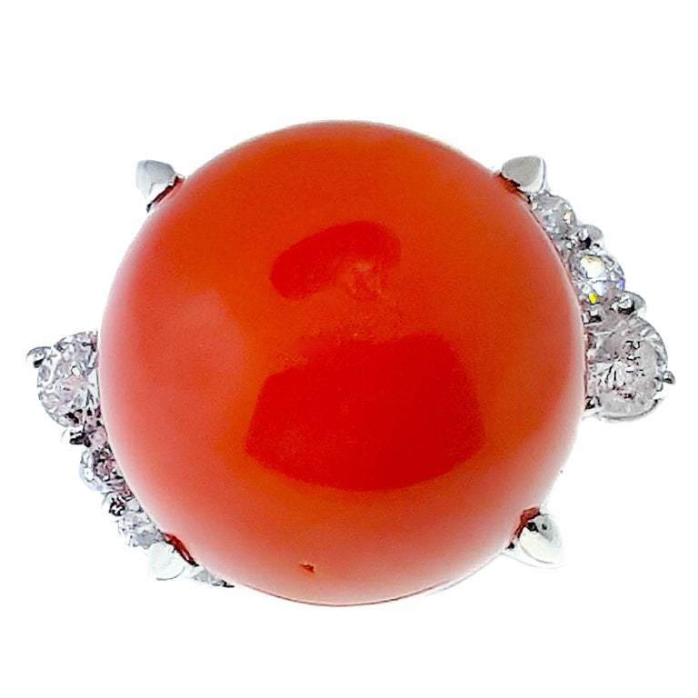 Coral Ball and Diamond Platinum Ring