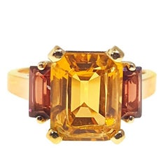 Retro Citrine and Garnet Yellow Gold Ring