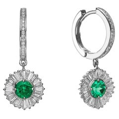 Ballerina Style Natural Emeralds and Diamonds Drop Earrings