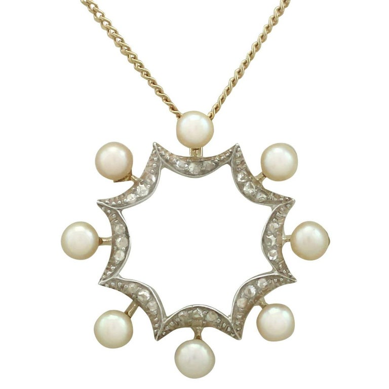 1920s Pearl Diamond 14 Karat Yellow Gold Pendant