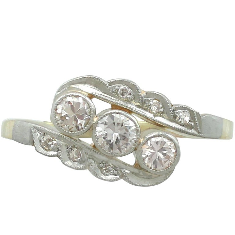 1930s Diamond and 14 Karat Yellow Gold Dress Ring
