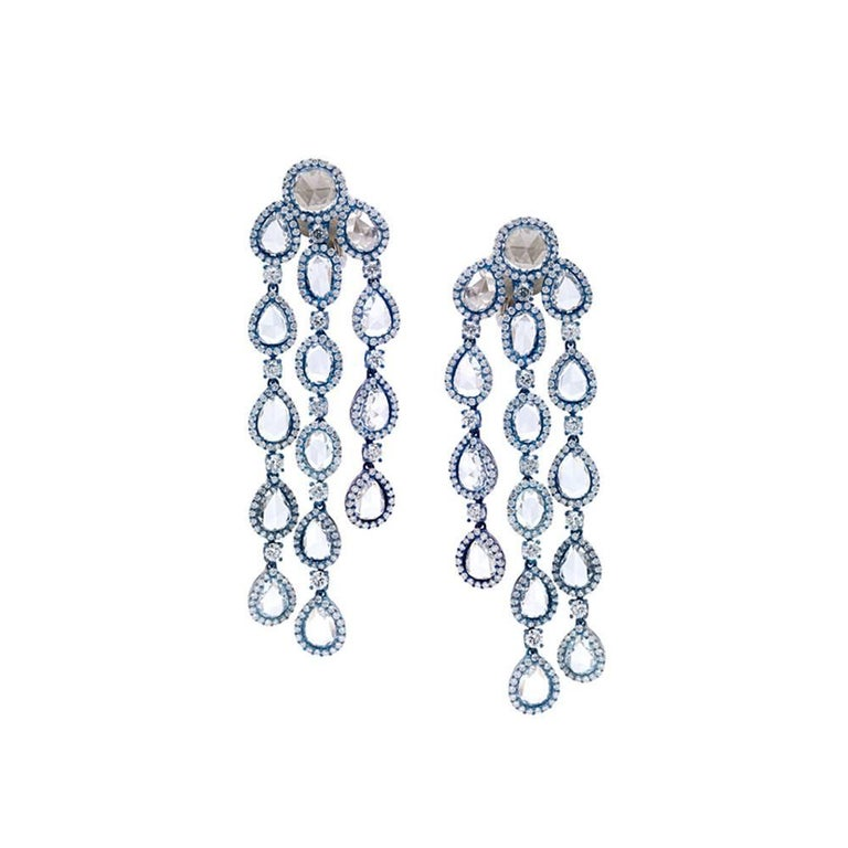 Titanium Dangle Earrings with Diamonds