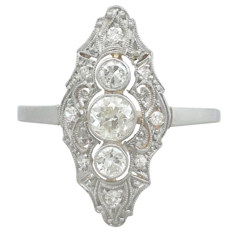 1910s Diamond and 18 Karat Yellow Gold Marquise Ring
