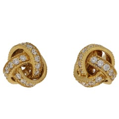 Diamond Gold Knot Earrings