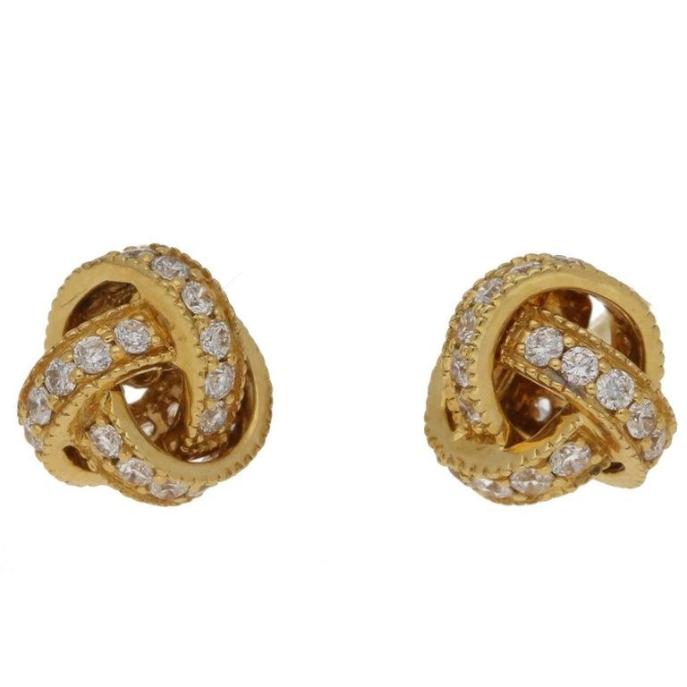 Diamond Gold Knot Earrings