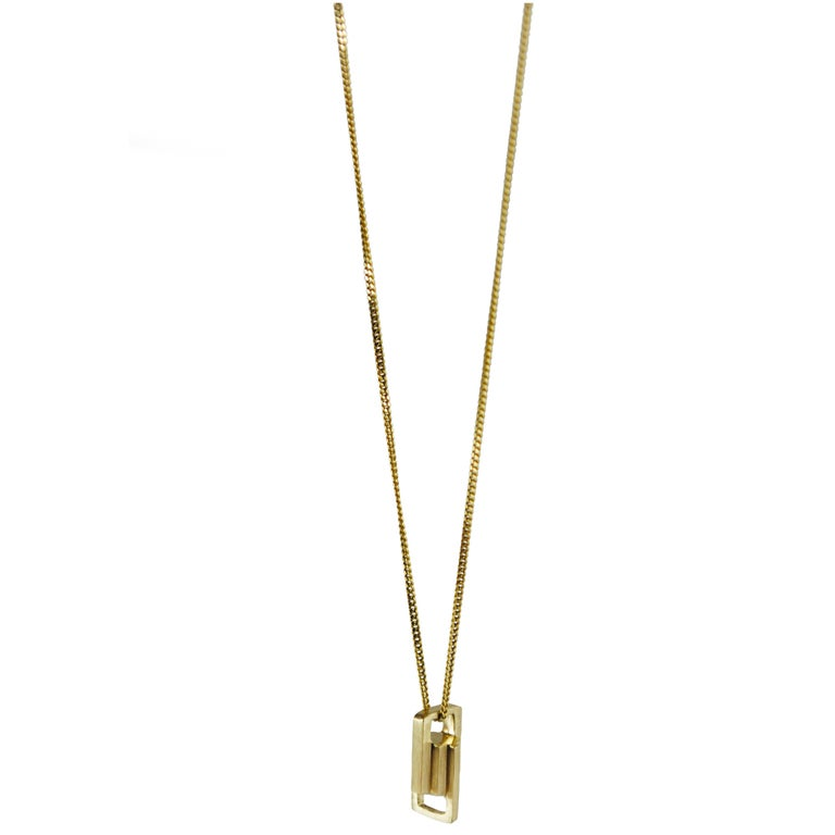 Emer Roberts Small Link Gold Art Deco Necklace Pendant
