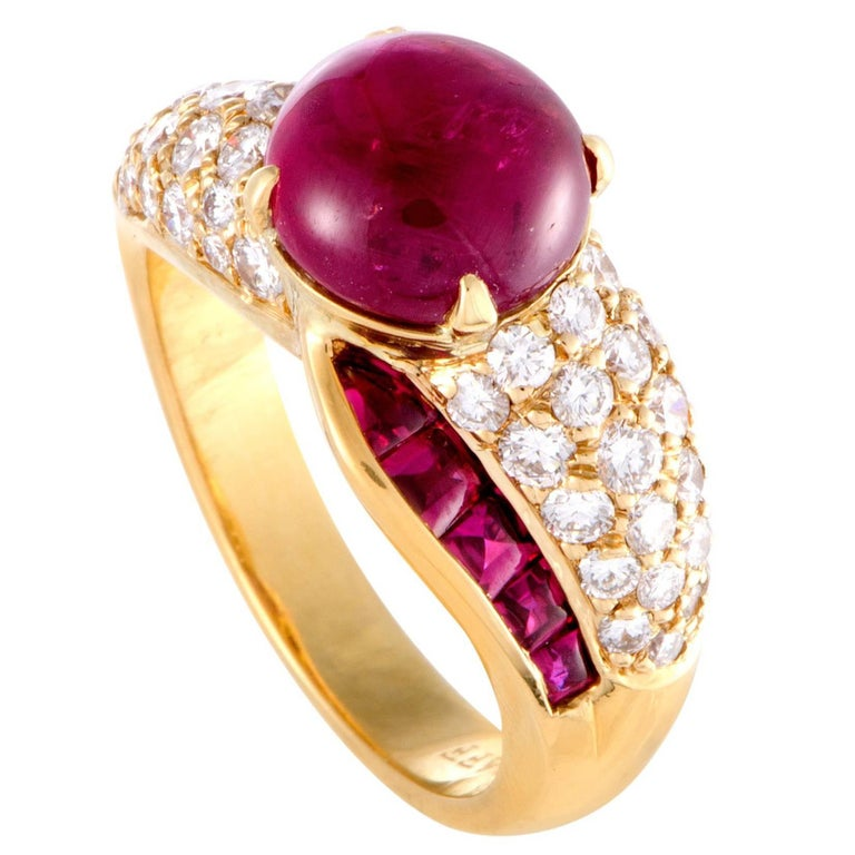 Graff Diamond and Ruby Yellow Gold Cocktail Ring