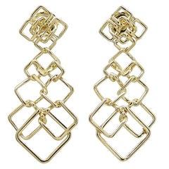 Valentin Magro Cushion Link Interlocking Dangle 18 Karat Yellow Gold Earrings