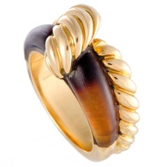 Hermes Tiger's Eye Yellow Gold Cable Band Ring