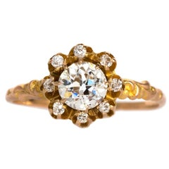 1880s Victorian Yellow Gold GIA Certified .69 Carat Diamond Engagement Ring