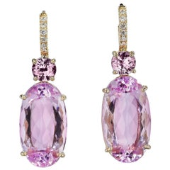 21.90 Carat Kunzite and Pink Sapphire Lever-Back Earrings