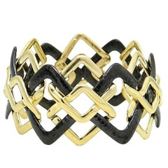 Valentin Margo Black and Gold Interlocking 18 Karat Gold Bracelet