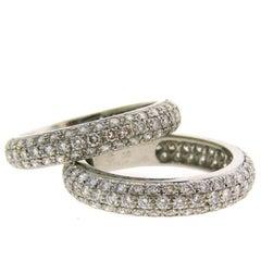 Cartier Diamond Platinum Eternity Band Ring Pair