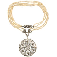 Edwardian Diamond Seed Pearl Platinum Pendant Necklace