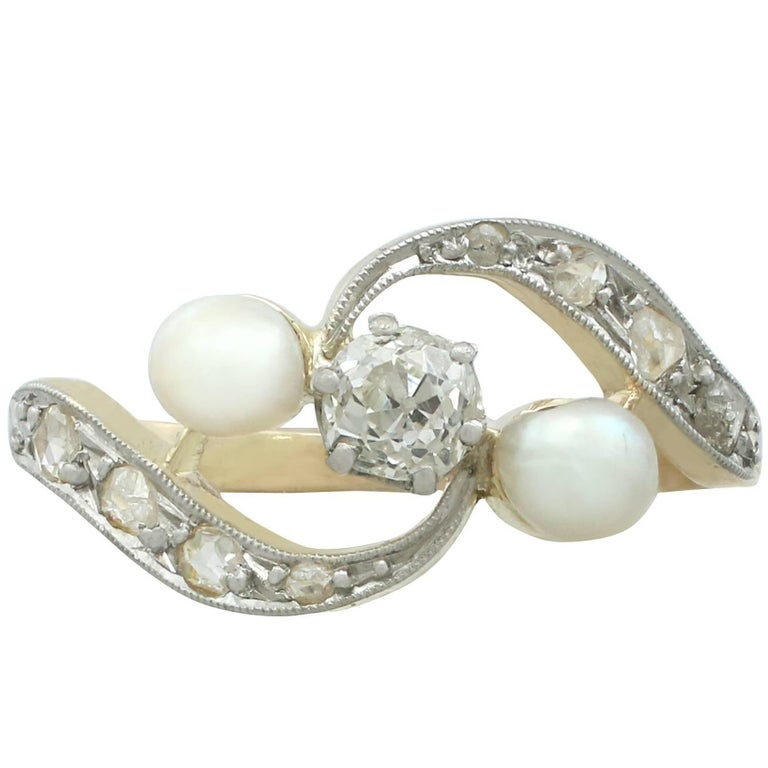 1920s Antique Pearl and Diamond Yellow Gold Twist Ring For Sale