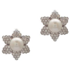 South Sea Pearl and Diamond Earrings in Platinum