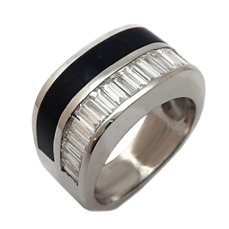 Men's Baguette Diamond and Onyx Ring in 14 Karat White Gold