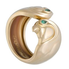 Cartier Les Oiseaux Emerald Open Gold Band Ring